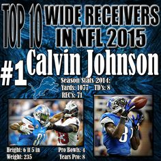 This past season proved to be a very difficult one for Calvin Johnson, he played in only 13 games as he was hampered by injuries, and was used solely as a decoy in several others which in turn hurt Johnson's numbers. Even then, he put up stats that would make lesser receivers envious, and continues to be a matchup nightmare for defenses around the league due to his combined size and freakish speed. http://www.prosportstop10.com/top-10-nfl-best-wide-receivers-2015/