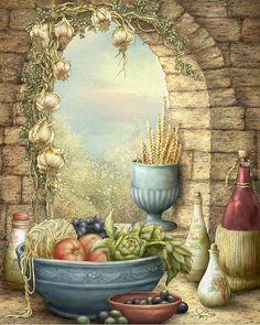 Sicilian Window by Beverly Levi-Parker ~ mixed media still life