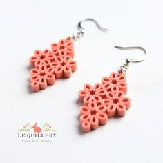 Items similar to Coral Flower Clusters Dangle Earrings - Handmade Eco friendly Paper Quilling Jewelry on Etsy Paper Quilling Earrings, Arte Quilling, Paper Quilling Designs, Quilling Craft, Quilling Patterns, Quilling Rakhi, Quilling Ideas, Paper Jewelry, Paper Beads