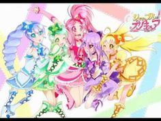 Shuffle precure  Cure Prism (Pink) Cure Royal (Blue) Cure Jewel (Yellow)  Cure Clover  (Green) Cure Joker (Purple)