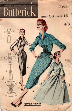 Butterick 7953 Womens Wing Collar Blouse & Full or Pencil Skirt Coordinates 50s Vintage Sewing Pattern Size 16 Bust 36 Inches