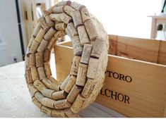 """Project from Crafting with Lolly: """"Kewl Cork Wreath """". Glue sticks lots - I used 6 of the Wine Cork Wreath, Wine Cork Crafts, Save On Crafts, Diy Crafts, Straw Wreath, Cork Art, Wine Decor, Do It Yourself Crafts, Diy Wreath"""