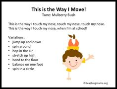 They enjoy moving, making sounds, and singing! There's something about music that draws them in and points their attention at whoever is making music. A few summers ago, I took a class on early childhood transitions with a lot of Kindergarten Songs, Preschool Songs, Preschool Lessons, Preschool Classroom, Preschool Learning, Songs For Preschoolers, Movement Songs For Preschool, Montessori Elementary, Action Songs For Toddlers