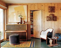The House That Liz Built Chic & eclectic knotty pine living room. Knotty Pine Living Room, Knotty Pine Rooms, Knotty Pine Decor, Wood Panel Walls, Layout, My New Room, Historic Homes, Family Room, Sweet Home