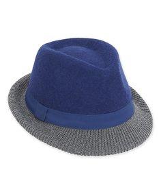 Look what I found on #zulily! Blue & Gray Ribbon-Trim Wool-Blend Fedora by ADORA #zulilyfinds