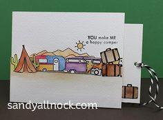 Sandy Allnock - Pull Tab Slider Card | happy camper