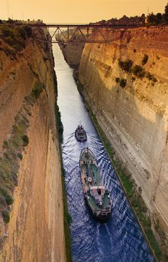 Corinth Canal ... begun by the Greek tyrant Periander in the 7th century BC.  Completed on 25 July 1893.