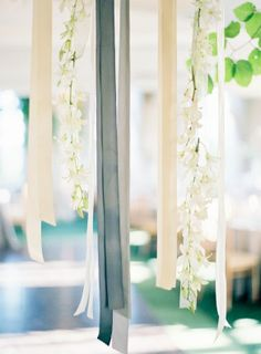 Hanging grey and white ribbon wedding décor: I need this!