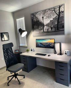 Simple Home Office Ideas Home Office Setup, Home Office Space, Home Office Design, House Design, Computer Desk Setup, Gaming Room Setup, Pc Setup, Computer Desk Organization, Gaming Desk
