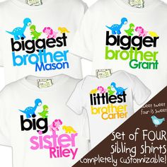 personalized brother or sister shirts, dinosaur, matching four sibling set