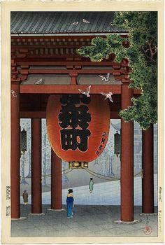 Tsuchiya Koitsu  The Great Lantern at Asakusa Temple, Tokyo