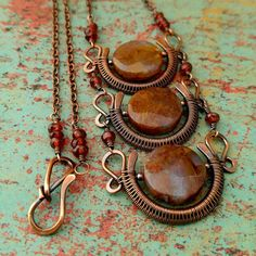 Three Blood Moons Copper Wire Wrapped Pendant by Door44Jewelry