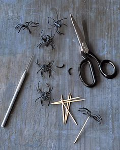 "DIY spider toothpicks... cut the ""ring"" part off and adhere to a toothpick... fun for Halloween appetizers"