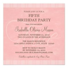 Square 5th Birthday Party Invitation