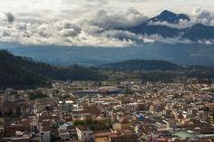 Cotacachi volcano looming over Otavalo, Ecuador