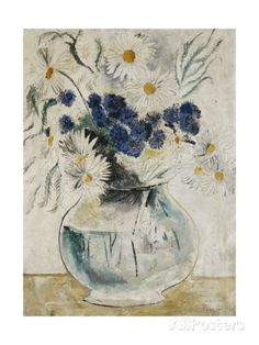 Daisies and Cornflowers in a Glass Bowl, 1927 Giclee Print by Christopher Wood - AllPosters.co.uk
