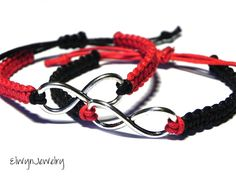 Black and red infinity bracelets - relationship gift by ElwynJewelry Couple Bracelets, Couple Jewelry, Bracelets For Men, Infinity Bracelets, Long Distance Relationship Gifts, Wholesale Silver Jewelry, Dreamland Jewelry, Jewellery Uk, Friendship Bracelets