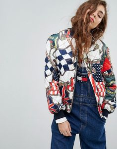 Tommy Jeans 90s Capsule Bomber with Flag Print - Multi