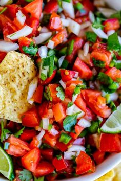 How to Make Authentic Pico de Gallo from The Food Charlatan. Learn how to make the best Pico de Gallo! It's a very simple Mexican salsa with tomatoes, onions, jalapeno, cilantro, and lime juice. Humble ingredients come together to make one of the best appetizers of all time! You will never look at tacos the same after topping them with this magical stuff. Mexican Appetizers, Healthy Appetizers, Mexican Food Recipes, Ethnic Recipes, Healthy Dips, Mexican Dishes, Dinner Recipes, Corn Dip, Quick Recipes