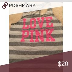 Love Pink Gray and White Striped Tank Top Used gently. Large gray and white striped tank with pink lettering from Pink by Victoria's Secret PINK Victoria's Secret Tops Tank Tops