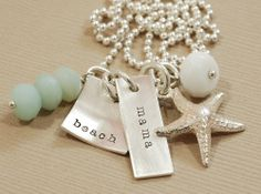Beach mama necklace handstamped jewelry by maryreginadesigns