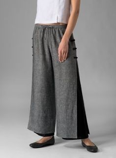 Linen Double Layers Pants Two Tone Blue/Navy
