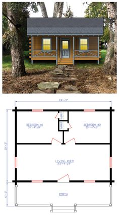 House Plan 74106   Total living area: 443 sq ft with two bedrooms.