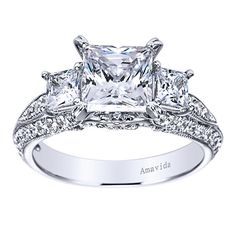 18k White Gold Diamond 3 Stones Engagement Ring | Gabriel & Co NY | Amavida | ER5387W84JJ