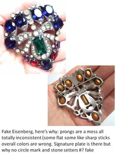 The color combo of this fake Eisenberg and it's irregular prongs are both indicative of a 'fantasy' piece. Made to deceive