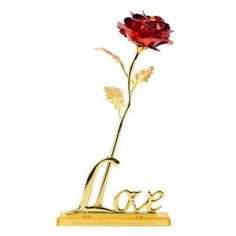 Forever Love rosa Tallo de Oro con soporte Forever Love Rose Gold Stem with Stand  Product Notes: The internal material of the product is plastic and the
