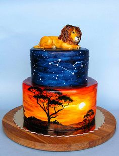 cake Lion King cake - I took one look at this, and now The Lion Sleeps Tonight is stuck in my head.Lion King cake - I took one look at this, and now The Lion Sleeps Tonight is stuck in my head. Lion Cakes, Lion King Cakes, Fancy Cakes, Cute Cakes, Beautiful Cakes, Amazing Cakes, Airbrush Cake, Lion King Birthday, Safari Cakes