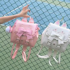 Kawaii never run out of styles anywhere or anytime. This cute Cats Backpack is definitely a turnaround. Mix and match with your lolita outfit. Available in pink and white colors. Kawaii Bags, Kawaii Clothes, Kawaii Bunny, Kawaii Stuff, Cat Backpack, Leather Backpack, Pu Leather, Neko, Kawaii Accessories