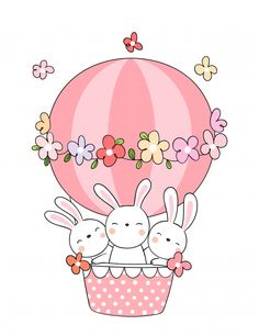 Draw rabbit in pink balloon for spring s. Illustration Mignonne, Cute Illustration, Kawaii Drawings, Easy Drawings, Ballon Rose, Baby Animal Drawings, Bunny Drawing, Pink Balloons, Hand Embroidery Patterns