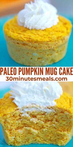 Paleo Pumpkin Mug Cake is a single-serve way to fix that pumpkin craving we all get when the fall season comes around. #pumpkin #dessert #cake #30minutesmeals Easy Delicious Recipes, Best Dessert Recipes, Cupcake Recipes, Sweet Recipes, Delicious Desserts, Yummy Food, Easy Recipes, Mug Recipes, Pumpkin Recipes