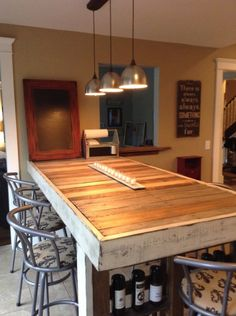 Counter height table, wine rack