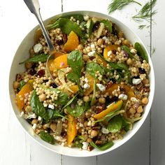 Cran-Orange Couscous Salad Recipe taste of home Potluck Recipes, Summer Recipes, Cooking Recipes, Vegan Recipes, Couscous Salad Recipes, Pasta Salad, Thanksgiving Table, Hot Dogs, Recipes