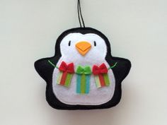 Felt Ornaments Tree Trimming Penquins-Tree by GingerSweetCrafts