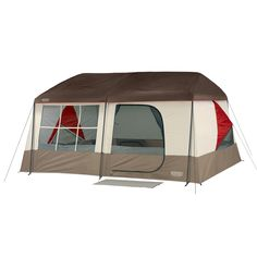 "Kodiak 9 Person Tent Comfortable walk-in 2-room Sleeps 9 comfortably Over 7-foot center height ""D"" style door with inside flap zippered window Removable seam-sealed fly Mesh roof vents Triangle-shaped bay windows allow side windows to remain Corded steel frame with molded corner hubs and fast feet for easy set up Two rear lockers/vents add ground breeze and storage space Sewn in divider curtain with ""I"" zipper creates separate rooms Mud mat at front door helps keep tent floor clean…"
