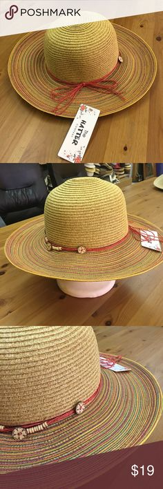 New panama hat with pendant string band Paper straw panama hat.3inch brim.One size fits most women(head curcumference is about 57cm the hatter Accessories Hats