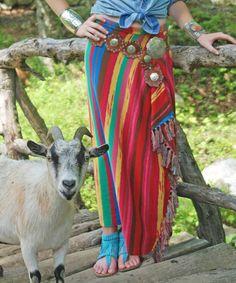 This Multi Rainbow Stripe Fringe Miguel Skirt - Women by Tasha Polizzi is perfect! #zulilyfinds
