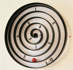 Aspiral Kinetic Clock. As the clock face turns, the red ball within rolls slowly and tells you the time at the moment. (Image Credit: Will Aspinall & Neil Lambeth)