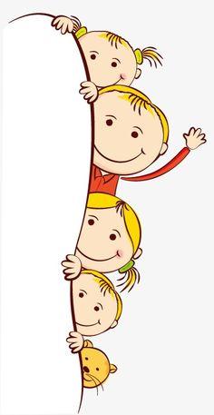 Cute Cartoon chicos Frame, Cartoon, Lovely, Niño PNG y Vector Cartoon Kids, Cute Cartoon, Drawing For Kids, Art For Kids, Stick Figure Drawing, Kids Background, School Frame, School Murals, Happy Children's Day