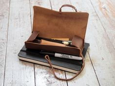 Handmade Pencil Case in Brown Leather by AndreyAndShay on Etsy