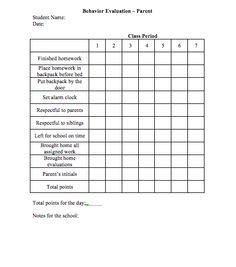 Student Behavior Chart/Log for Middle School or High School ...