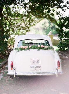 Vintage getaway car: www.stylemepretty... | Photography: Julie Paisley - www.juliepaisley....