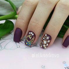Nail Ink, Gel Nail Art, Cute Nail Art, Cute Nails, Peacock Nails, Manicure, Nails Design With Rhinestones, Luxury Nails, Rhinestone Nails