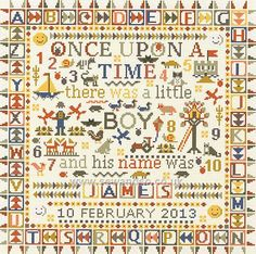 Once upon a time, baby boy sampler | The French Needle | French Needlework Kits, Cross Stitch, Embroidery, Sophie Digard