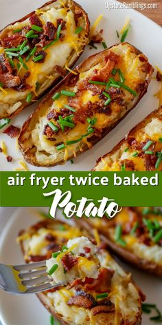 air fryer recipes These easy air fryer twice baked potatoes are a creamy and cheesy side dish that is a perfect addition any meal. Hearty baked potatoes are filled with mashed potatoes, sour cream and cheese and topped with bacon and chives. Air Fryer Oven Recipes, Air Frier Recipes, Air Fryer Dinner Recipes, Air Fryer Recipes Potatoes, Air Fryer Baked Potato, Air Fryer Recipes Appetizers, Meals With Mashed Potatoes, Meals With Bacon, Recipes With Potatoes