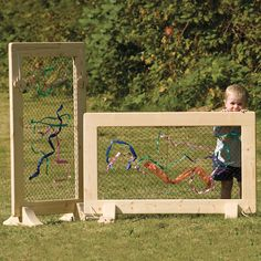 Frame Divider Large Weaving frames for fine motor skills and creative expression and free thinking play.Weaving frames for fine motor skills and creative expression and free thinking play. Outdoor Education, Outdoor Learning Spaces, Outdoor Play Areas, Outdoor Fun, Outdoor Games, Outdoor Classroom, Outdoor School, Preschool Playground, Playground Ideas