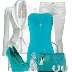 Teal and white smart casual wear with silver accessories